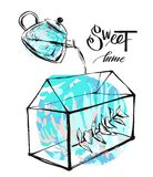 Hand drawn vector abstract illustration with terrarium,eucaliptus brunch and pot with water in blue colors isolated on Royalty Free Stock Photo