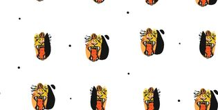 Hand drawn vector abstract ink drawing sketch illustrations seamless pattern collage with tribal tropical wildlife. Tigers heads isolated on white background Royalty Free Stock Image