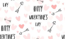 Hand drawn vector abstract ink graphic greeting happy Valentines day illustrations invitation seamless pattern with royalty free stock images