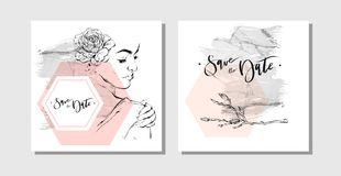 Hand drawn vector abstract marbled save the date greeting cards collection set with brunches,woman figure and flowers in. Pastel colors  on white background Royalty Free Stock Photography