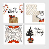 Hand drawn vector abstract Merry Christmas greeting cards template collection set with deers,gift box,candy canes Stock Images