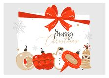 Hand drawn vector abstract Merry Christmas and Happy New Year time cartoon illustration greeting card with retro vintage royalty free illustration