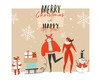 Hand drawn vector abstract Merry Christmas and Happy New Year time cartoon illustrations greeting card with outdoor. Family people group,snowman and modern vector illustration