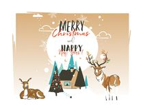 Hand drawn vector abstract Merry Christmas and Happy New Year 2018 time cartoon illustrations greeting card template. With outdoor landscape,house,deer and Royalty Free Stock Images
