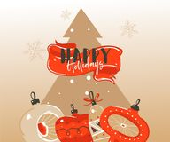 Hand drawn vector abstract Merry Christmas and Happy New Year time cartoon illustrations greeting header template with. Xmas tree bauble toys and typography vector illustration