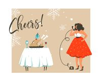 Hand drawn vector abstract Merry Christmas and Happy New Year time retro vintage cartoon illustration greeting card with. Beautuful woman in dress and modern Royalty Free Stock Photography