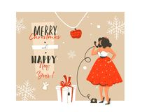 Hand drawn vector abstract Merry Christmas and Happy New Year time vintage cartoon illustration greeting card with. Beautuful woman in dress,gift box and modern vector illustration