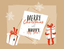 Hand drawn vector abstract Merry Christmas and Happy New Year time vintage cartoon illustration greeting card header. Template with little boy kid who holding vector illustration