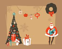 Hand drawn vector abstract Merry Christmas and Happy New Year time vintage cartoon illustrations greeting card header. Template with Santa and place for your royalty free illustration