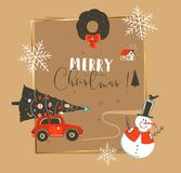Hand drawn vector abstract Merry Christmas and Happy New Year time vintage cartoon illustrations greeting card template. With car,xmas tree,snowman and stock illustration