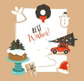 Hand drawn vector abstract Merry Christmas and Happy New Year time vintage cartoon illustrations greeting card template. With car, xmas tree and cake stand vector illustration