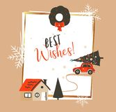 Hand drawn vector abstract Merry Christmas and Happy New Year time vintage cartoon illustrations greeting card template. With red car and Xmas tree isolated on vector illustration