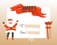 Hand drawn vector abstract Merry Christmas and Happy New Year time vintage cartoon illustrations greeting card template. With Santa Claus and place for your vector illustration