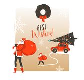 Hand drawn vector abstract Merry Christmas and Happy New Year time vintage cartoon illustrations greeting card template. With Santa Claus family people walkin stock illustration