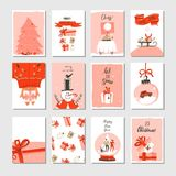 Hand drawn vector abstract Merry Christmas time cartoon cards collection set with cute illustrations,surprise gift boxes. Xmas tree and modern calligraphy in Royalty Free Stock Photos