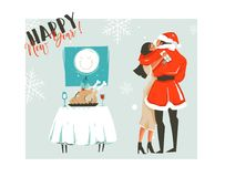 Hand drawn vector abstract Merry Christmas time cartoon retro vintage illustrations card with romantic couple who. Kissing and hugging,xmas dinner and Happy New Royalty Free Stock Photo