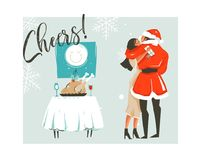 Hand drawn vector abstract Merry Christmas time cartoon retro vintage illustrations card with romantic couple who. Kissing and hugging,xmas dinner and Cheers Stock Photos