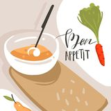 Hand drawn vector abstract modern cartoon cooking class illustrations poster with preparing food scene,cream soup plate. And modern handwritten calligraphy Bon Royalty Free Stock Images