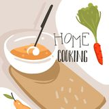 Hand drawn vector abstract modern cartoon cooking class illustrations poster with preparing food scene,cream soup plate. And modern handwritten calligraphy Home Stock Image