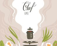 Hand drawn vector abstract modern cartoon cooking class illustrations poster with preparing food scene,soup pan vector illustration