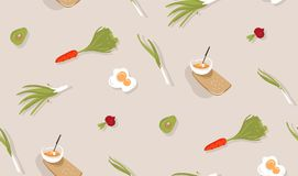 Hand drawn vector abstract modern cartoon cooking time fun illustrations icons seamless pattern with vegetables,food and. Kitchen utensils isolated on grey Royalty Free Stock Image