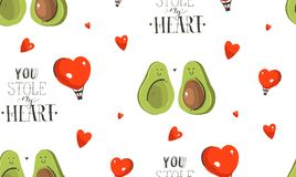 Hand drawn vector abstract modern cartoon Happy Valentines day concept illustrations seamless pattern with avocado. Couple,hearts shape and handwritten Vector Illustration