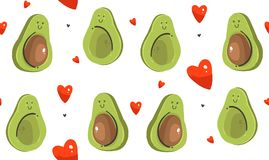 Hand drawn vector abstract modern cartoon Happy Valentines day concept illustrations seamless pattern with avocado. Couple and many hearts shape isolated on Stock Illustration