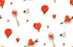 Hand drawn vector abstract modern cartoon Happy Valentines day concept illustrations seamless pattern with badminton. Racket,cookies,hot air balloons and many Royalty Free Illustration