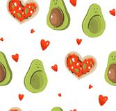 Hand drawn vector abstract modern cartoon Happy Valentines day concept illustrations seamless pattern with cute avocado. Couple,heart shape pizza and many Royalty Free Illustration