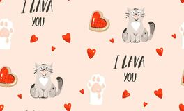 Hand drawn vector abstract modern cartoon Happy Valentines day concept illustrations seamless pattern with cute cats. Paws,handwritten calligraphy and many Royalty Free Illustration
