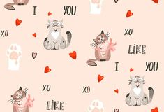 Hand drawn vector abstract modern cartoon Happy Valentines day concept illustrations seamless pattern with cute cats. Paws,handwritten calligraphy and many Vector Illustration