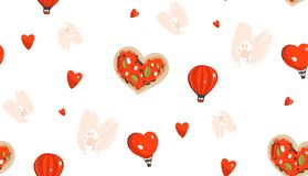 Hand drawn vector abstract modern cartoon Happy Valentines day concept seamless pattern with cute heart shape pizza,cats. Paws,hot air balloons and many hearts Royalty Free Illustration