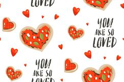 Hand drawn vector abstract modern cartoon Happy Valentines day concept seamless pattern with cute heart shape pizza. Cookies and many hearts isolated on white Royalty Free Illustration