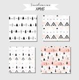 Hand drawn vector abstract modern geometric composition seamless pattern collection set in black, white,and pastel pink stock illustration