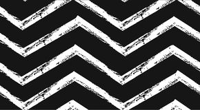 Hand drawn vector abstract rough geometric monochrome seamless zig zag chevron pattern in black and white colors.Hand Stock Photo