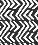 Hand drawn vector abstract rough geometric monochrome seamless zig zag chevron pattern in black and white colors.Hand Royalty Free Stock Photo