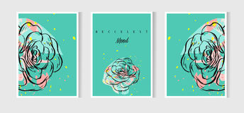 Hand drawn vector abstract Save the Date greeting card collection set template with succulents,cactus plant and freehand. Texture in mint color.Design for Royalty Free Stock Images