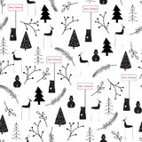 Hand drawn vector abstract Scandinavian Christmas black white seamless pattern. vector illustration