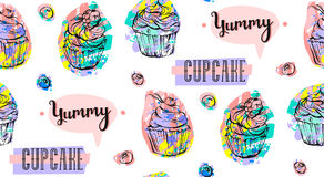 Hand drawn vector abstract seamless artistic abstract creative colorful cupcakes and berries pattern isolated on white Royalty Free Stock Images