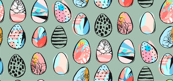 Hand drawn vector abstract seamless pattern with abstract brush drawing Easter eggs.Spring holidays decoration. Hand drawn vector abstract seamless pattern with Stock Image