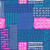 Hand drawn vector abstract seamless pattern. Fashion fabric print design Stock Photography