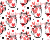 Hand drawn vector abstract seamless pattern with glass jar. And many red hearts isolated on white background.Design for wedding,valentines day,greeting,fashion Stock Photography