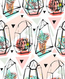 Hand drawn vector abstract seamless pattern with rough terrarium and succulent plants in pastel colors  on white Stock Photo