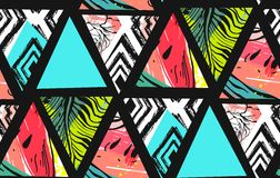 Hand drawn vector abstract summer time collage seamless pattern with watermelon,aztec and tropical palm leaves motif Royalty Free Stock Image