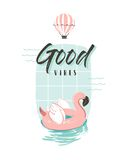 Hand drawn vector abstract summer time fun illustration with pink flamingo buoy ring in pastel colors and modern Stock Photos