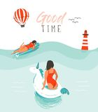 Hand drawn vector abstract summer time fun illustration with swimming happy people in water with lighthouse,hot air Stock Images