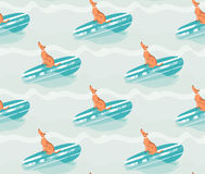 Hand drawn vector abstract summer time fun seamless pattern illustration with surfing dog on surfboard on blue ocean Stock Image