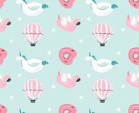 Hand drawn vector abstract summer time fun seamless pattern with pink flamingo float, unicorn swimming pool buoy ,heart Royalty Free Stock Photography