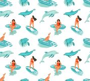 Hand drawn vector abstract summer time fun seamless pattern with surfers girl in bikini ,dog on surfboards and jumping. Dolphins isolated on white background stock illustration