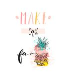 Hand drawn vector abstract summer time funny cute illustration with pineapple friut and modern handwritten calligraphy Royalty Free Stock Photo
